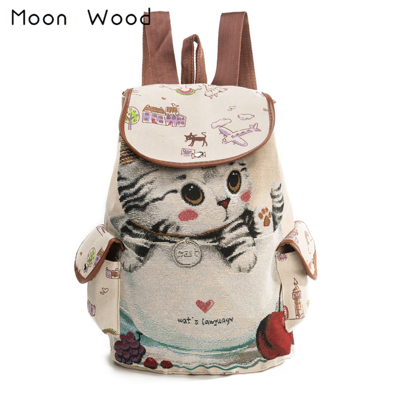 Moon Wood Cartoon Animal Cat Embroidery Drawstring Backpack Women Cute Canvas Backpack School Bags For Teenager Girls Book Bag