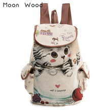 Moon Wood Cartoon Animal Cat Embroidery Drawstring Backpack Women Cute Canvas Backpack School Bags For Teenager Girls Book Bag(China)