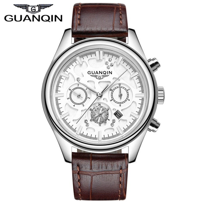 ФОТО Famous Brand GUANQIN Men's Genuine Leather Strap Watches Men Designer Mutilfunctional Quartz Watch With Calendar man hours