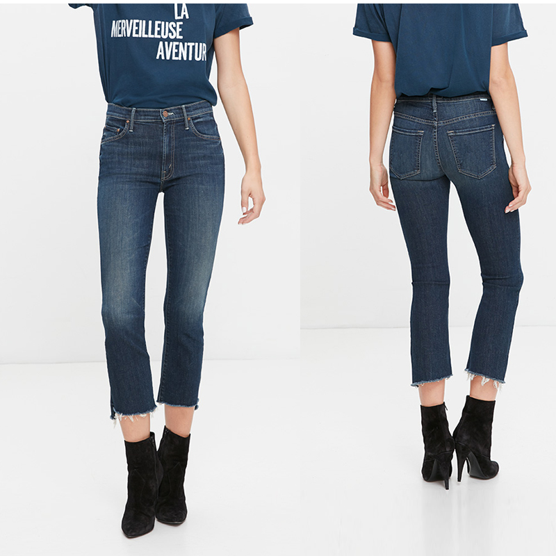 PRE-SALE Women's high waisted wise crop fray fit Jeans