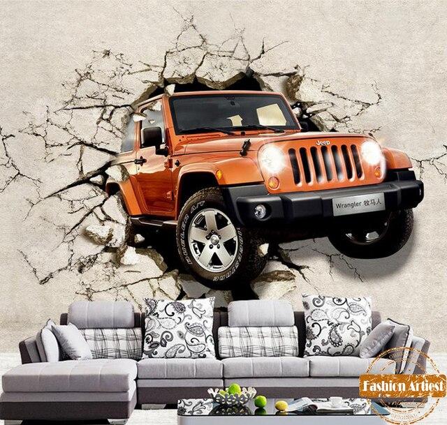 Aliexpress.com : Buy Custom 3d Red Car Jeep Wallpaper