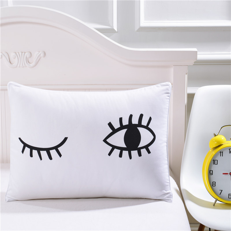 Latest bedding outlet black eyelash eye pillowcase for White craft pillow cases