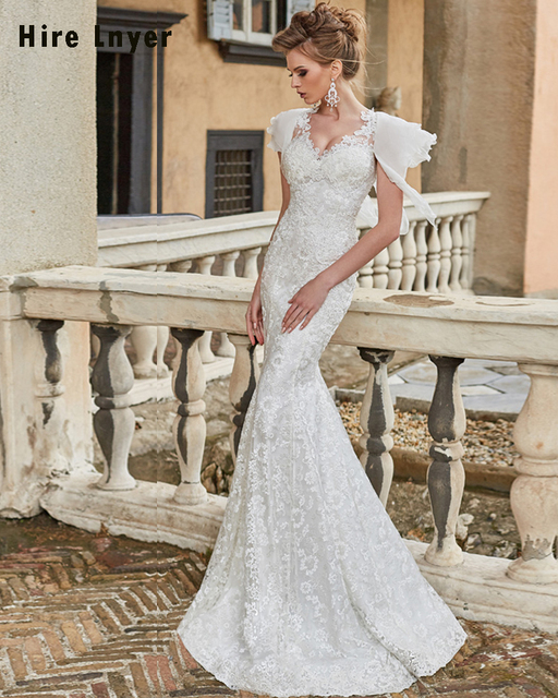 vestido de novia sirena 2019 appliques lace slim mermaid wedding