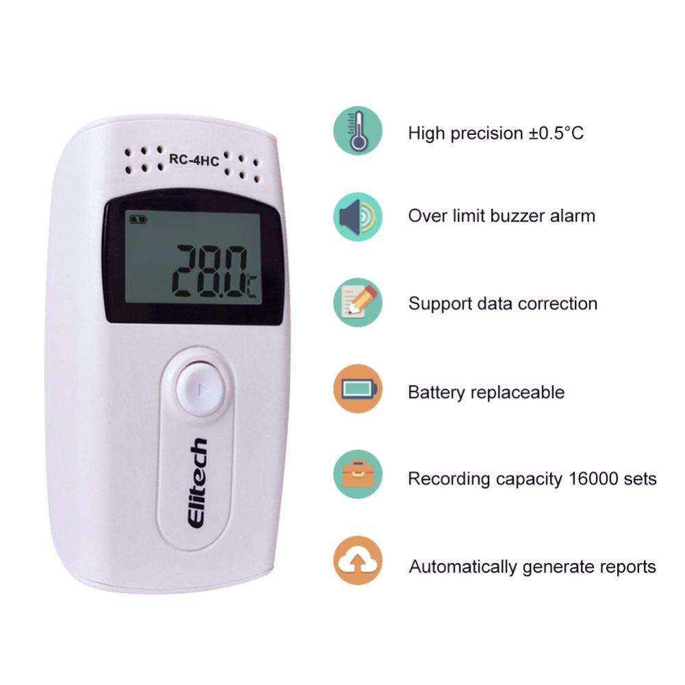 RC-4HC LCD Digital USB Temperature Humidity Data Logger High Precision Temperature Recorder with Built-in NTC Sensor temperature and humidity sensor protective shell sht10 protective sleeve sht20 flue cured tobacco high humidity