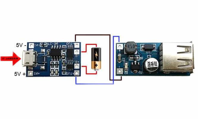 مسؤول مصنع 5 V 1A المصغّر usb 18650 بطارية ليثيوم شحن مجلس وحدة شاحن + حماية المزدوج وظيفة Diy روبوت الجزء كيت