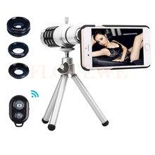 Buy online 2017 Camera Lentes Kit 12x Zoom Telescope Telephoto Lens For Samsung S3 S4 S5 S6 S7 edge note Macro Wide Angle Fisheye lenses