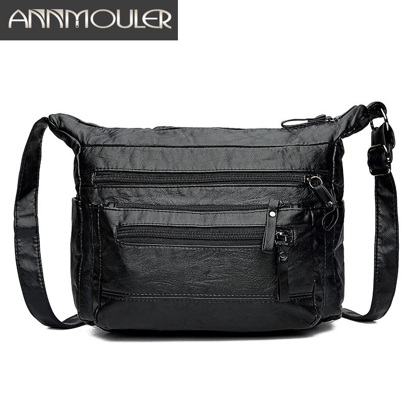2aadc787a Annmouler Fashion Women Bag Pu Leather Crossbody Bag Medium Size Shoulder  Bag Soft Washed Leather Patchwork