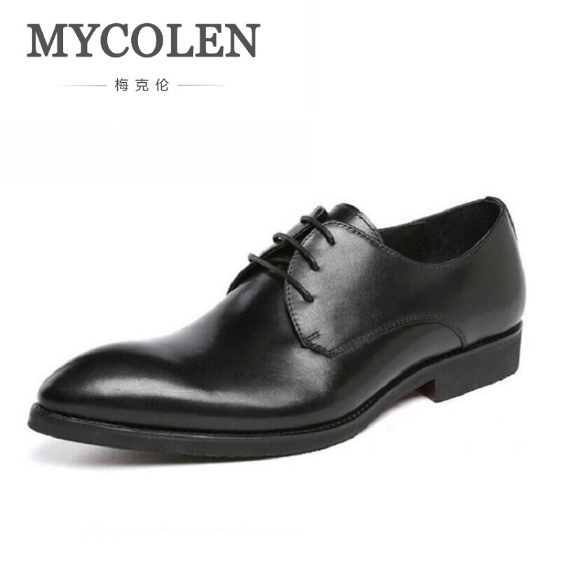 MYCOLEN Men Dress Shoes Split Leather Men's Fashion Leather Shoes Lace-Up Pointed Toe Male Business Wedding Formal Shoes Black new 2018 fashion men dress shoes black leather pointed toe male business shoes lace up men falt office shoes yj b0035