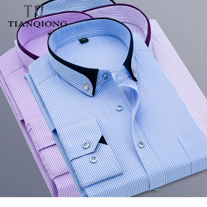 2019 New Arrival Spring High Quality Stirped Casual Shirts Men,men's Plaid Shirts,Blue Purple, Shirts Men Plus-size M-5XL