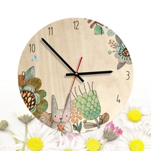 Nordic Style Circle Clock Cartoon Fairy Tale Style Decorative Durable Silent Clock for Bedroom Home Living Room Decorating