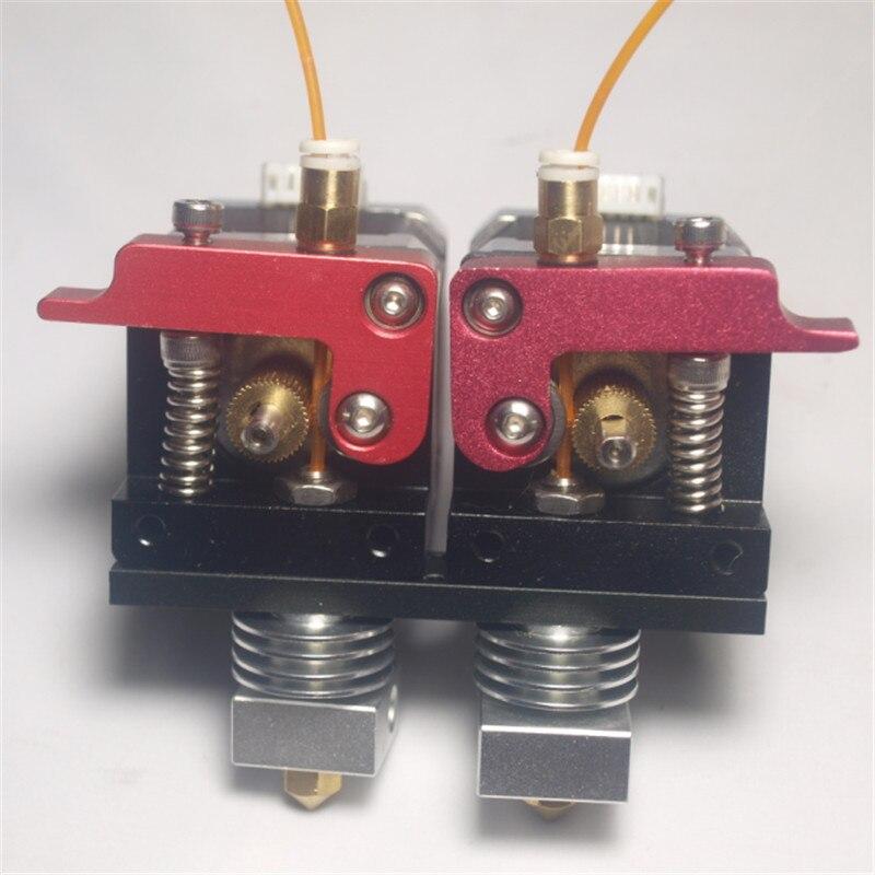Reprap 3D printer parts metal dual direct extruder kit 1.75 mm filament with nema 17 stepper motor dual extruder set PTF 3d printer parts reprap replicator 2x aluminum direct dual extruder upgrade kit no motor 1 75 mm