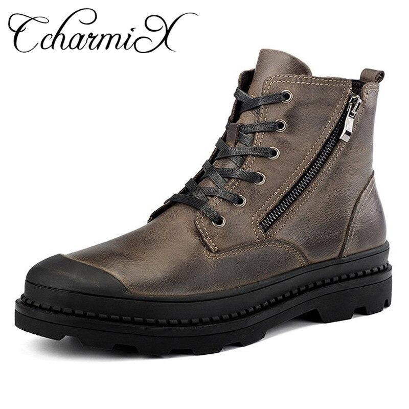 CcharmiX Big Size 38 47 Mannen Laarzen Lederen Winter Laarzen Schoenen Mannen Warm Furry Rits Laarzen Mannen Mode enkel Snowboots-in Eenvoudige Laarzen van Schoenen op  Groep 1