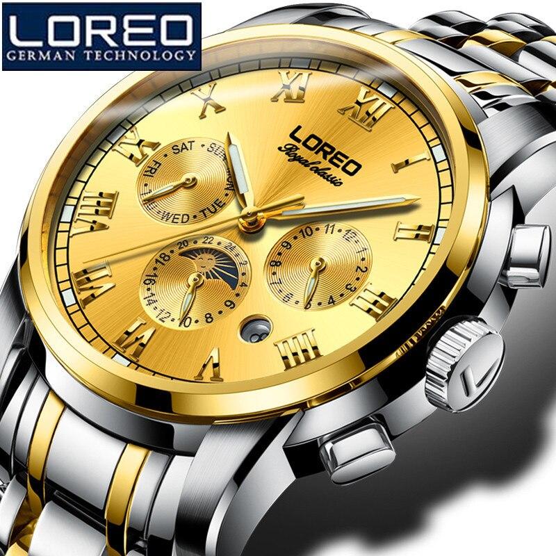 Loreo часы мужские Полное Календари Tourbillon сапфир несколько функций сопротивление воды Механические часы Рождество подарок O47