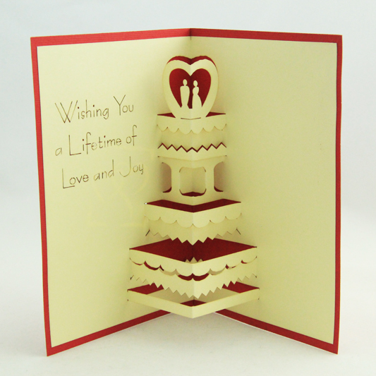 Wedding Cake Best Wishes 3D Kirigami Pop Up Card
