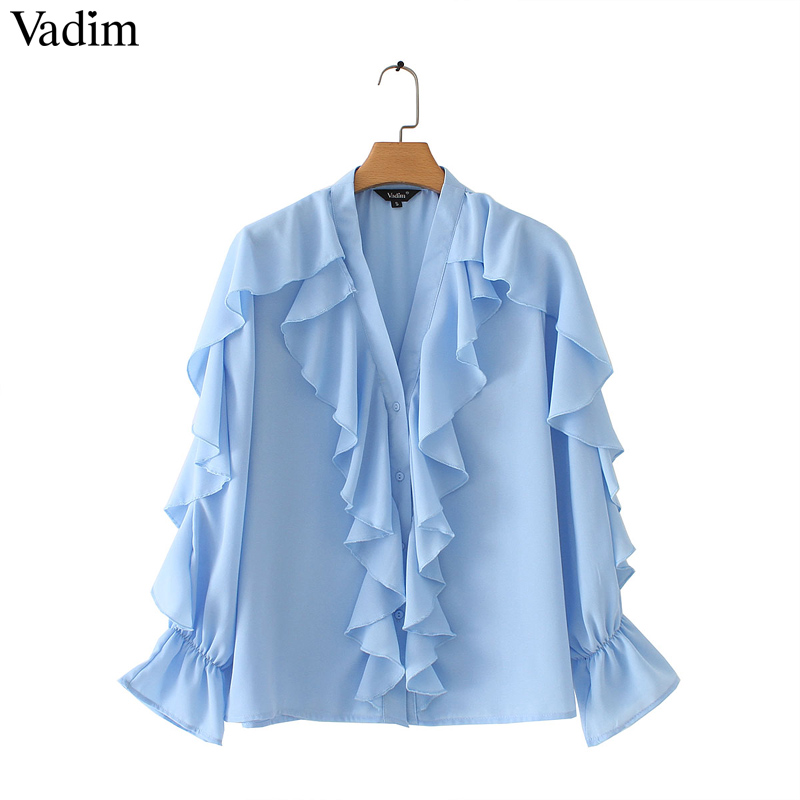 Vadim Women Sweet Ruffled Chiffon Blouse V Neck Long Sleeve Cute Female Casual Fashion Blue Shirt Stylish Tops Blusas LA855(China)