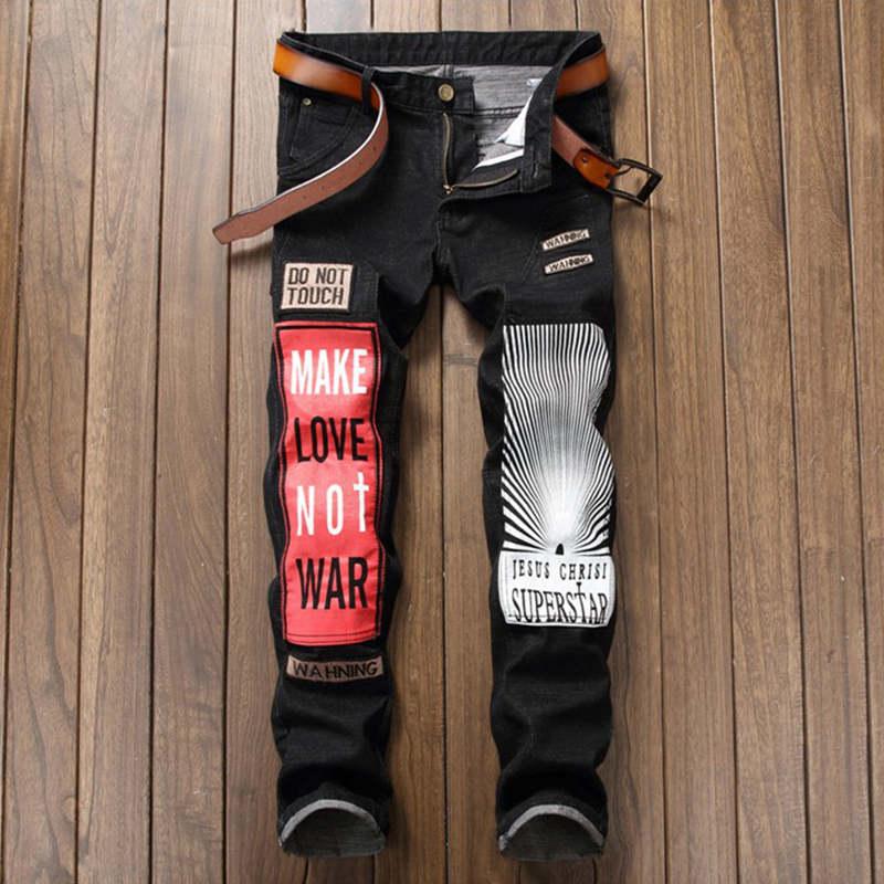 Original Designer Badge Patchwork Jeans Men Ripped Jeans Black Letter Printing Biker Jeans Denim Straight Slim