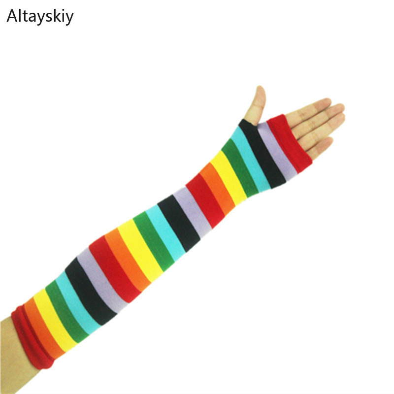 Arm Warmers Women Rainbow Color Striped Printing Warm Outdoor Finger-less Winter Womens Mitts All-match Colorful Trendy Leisure