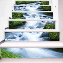 все цены на 3D Stairway Stickers Waterfall Stream Stairs Stickers Creative Pattern Floor Wall Decor Decals Sticker Living Room Decoration онлайн