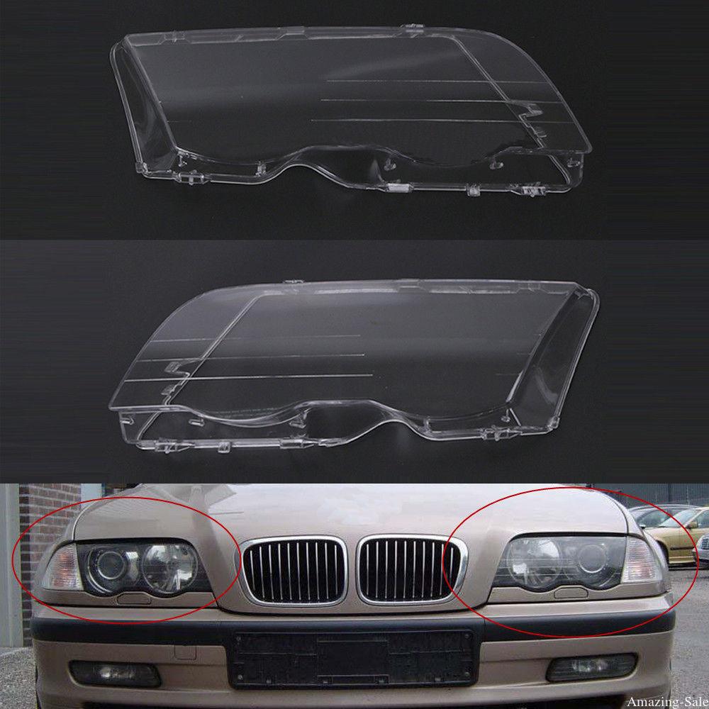 2pcs left right headlight lens clear lens headlamp cover for bmw e46 3 series 1998 1999 2000 2001 320i 325i 325xi 330i 330