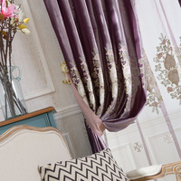 Brief Description Of Purple Italy Velvet Embroidered Embroidered Curtain Screen Curtains For Living Dining Room Bedroom