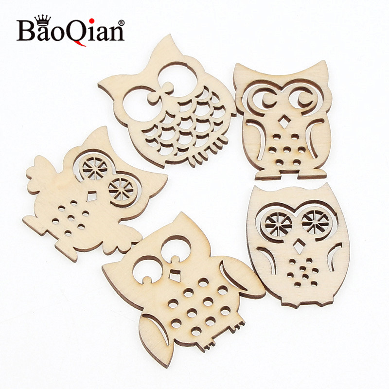 10Pcs Sewing Scrapbookings Accessories Mix Natrual Owl Shape Wooden Crafts For Home Decoration Handmade DIY Embellishment