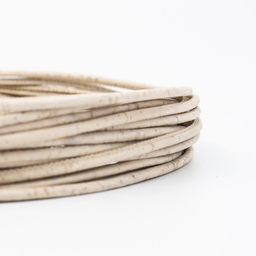 10Meter 3mm round white cork cord Portuguese cork wholesale jewelry supplies /Findings COR-172-10