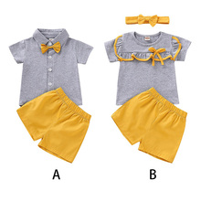 Летняя детская одежда для девочек и мальчиков с короткими рукавами, Однотонная футболка с принтом топы+ шорты, костюмы повседневные комплекты одежды