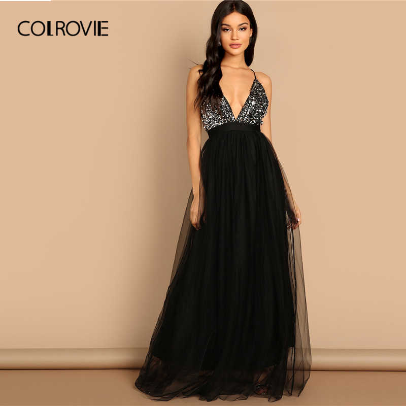 dfbc8aa7827 COLROVIE Black Criss Cross Backless V Neck Mesh Bodice Sequin Sexy Party  Dress Women 2019 Sleeveless