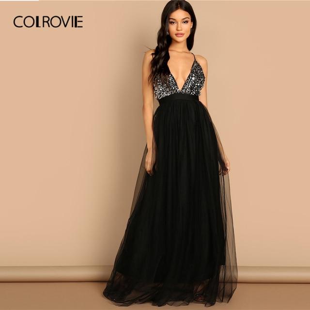 COLROVIE Đen Criss Chữ Thập Backless V Cổ Lưới Vạt Áo Sequin Sexy Dress Phụ Nữ 2019 Không Tay Ladies Evening Maxi Dress