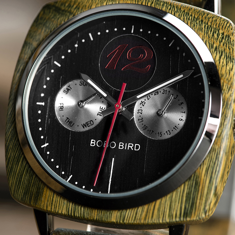 New Design! Luxury & Classic Wood Watch For Men W/Date Display & Gift Wood Box 10