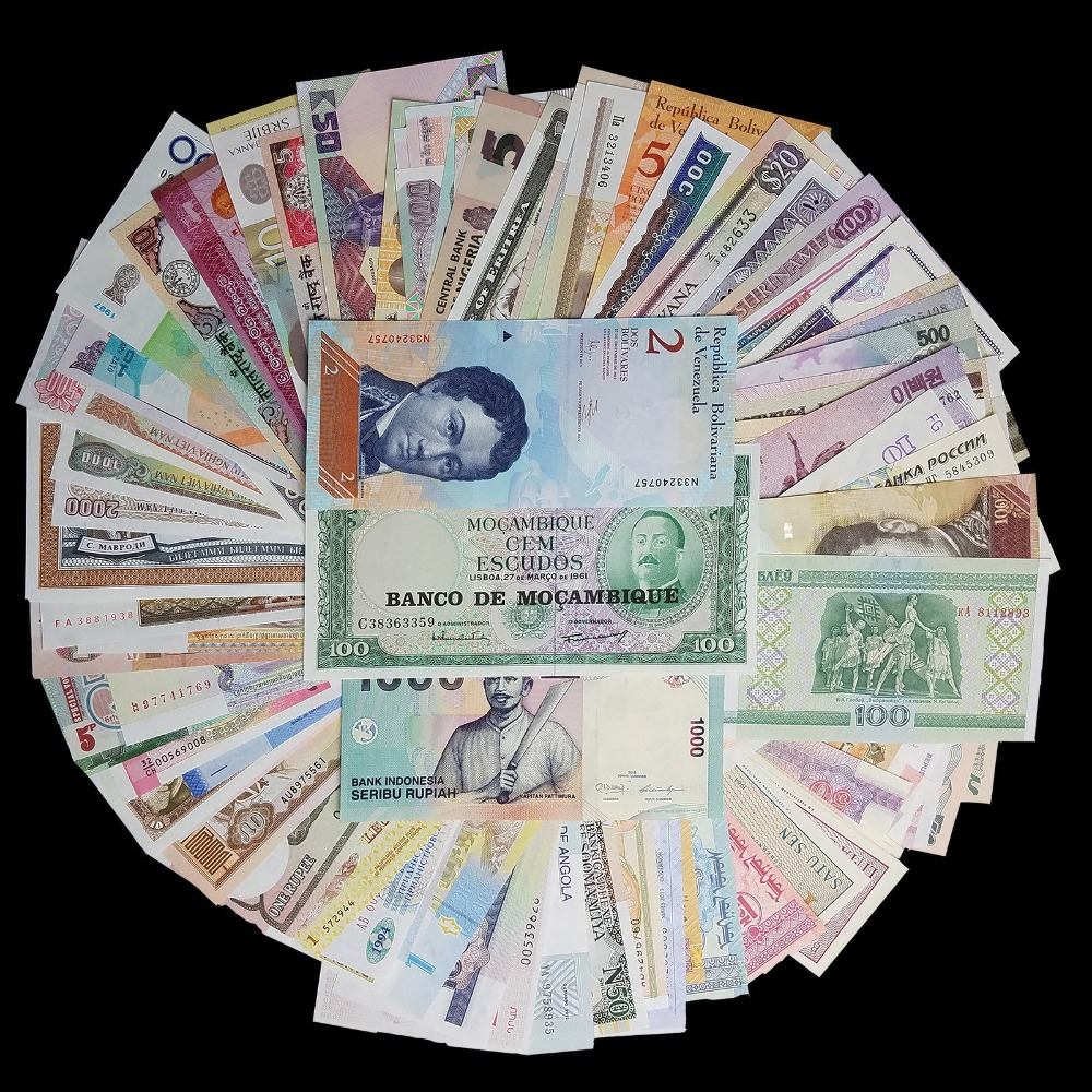Lot 100 PCS Different World Paper Notes From 50 Foreign Countries , Exit Circulation, Free Shipping, Gift, 100% Original, UNC