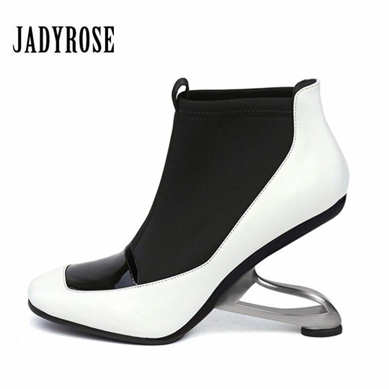 Jady роза на необычном каблуке женские ботильоны эластичная ткань Челси обувь на танкетке женские туфли-лодочки на высоком каблуке Botas Mujer