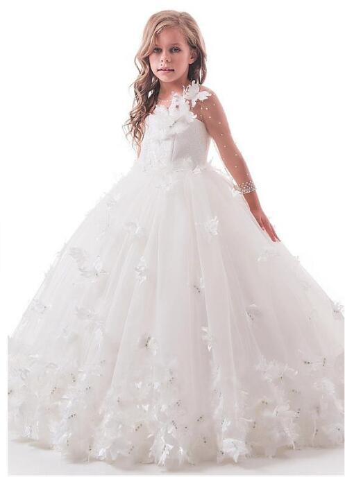 Elegant Tulle Lace Jewel Neckline 3/4 Length Sleeves Ball Gown Flower Girl Dresses With Handmade Flowers Rhinestones White Ivory white stripe pattern off shoulder 3 4 length sleeves playsuit