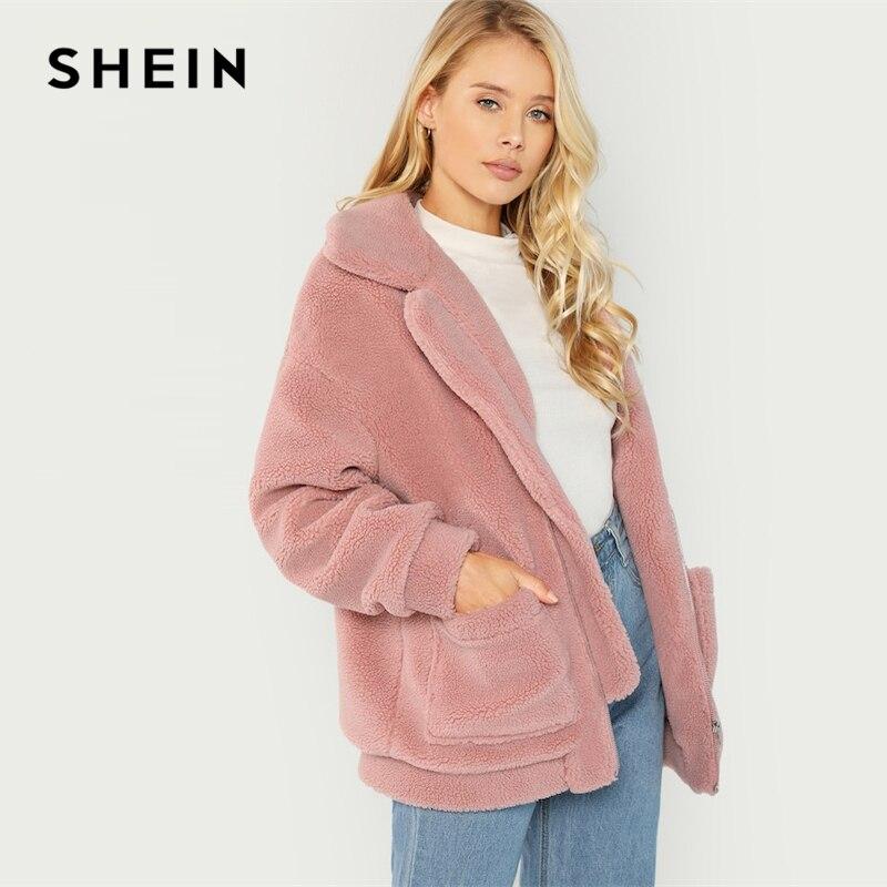 Шеин розовый элегантный опрятный заниженной линией плеч негабаритных флис на молнии Твердые Highstreet куртка осень кампус для женщин пальт