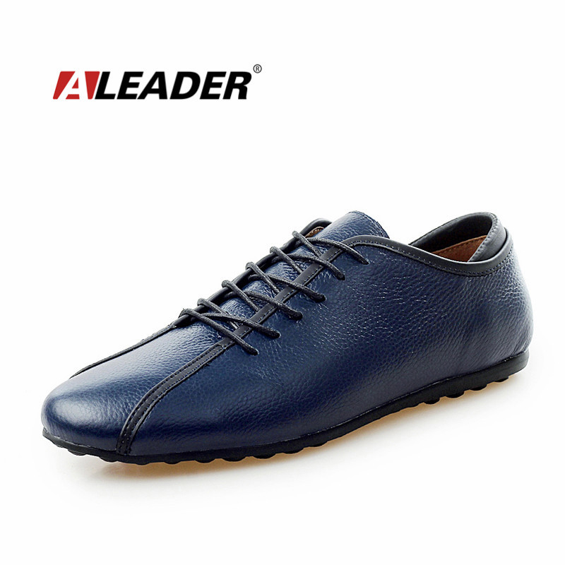 Aleader Genuine Leather Men Shoes 2016 Spring Autumn Casual Shoes For Men Fashion Flat Loafers Lace Up Driving Shoes Moccasins men suede genuine leather boots men vintage ankle boot shoes lace up casual spring autumn mens shoes 2017 new fashion