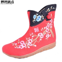 Autumn Winter Women Boots Cotton Plum Flower Embroidered Short Ankle Boots Brathable Ladies Wedges Platform Shoes Zapato Mujer