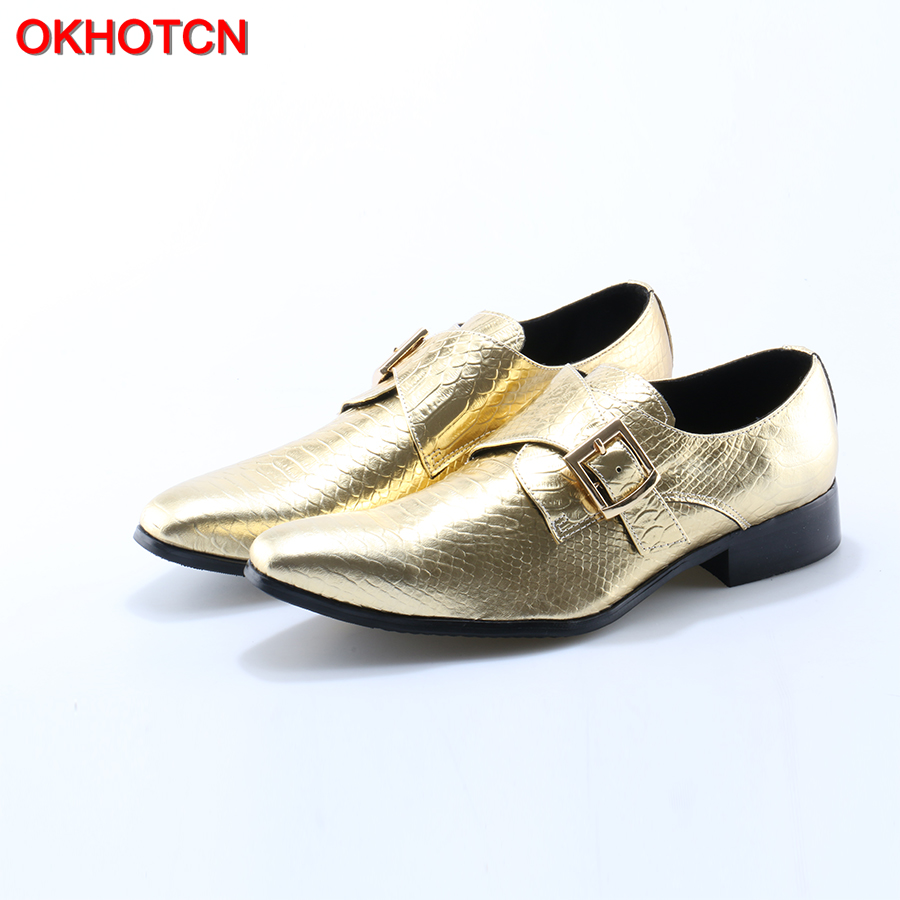 OKHOTCN Italy Fashion Design Gold Buckle Pointed Toe Men Genuine Leather Shoes Men Dress Flats Party Wedding Men Loafers okhotcn fashion gingham men loafers genuine leather casual shoes party wedding dress men s flats daily comfortable leisure shoes