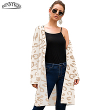RONNYKISE Leopard Knitted Sweaters Women fashion Long Cardigans Autumn Winter Casual Outdoor Wear Loose Clothes