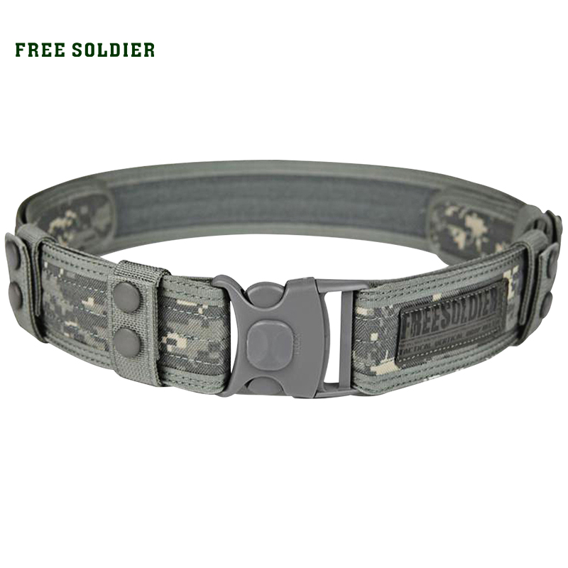 FREE SOLDIER Outdoor Sport Tactical Belt Accessories For Camping Hiking Molle Belt nylon Waist Belt For Men chic stripe decorated buckle leather waist belt for men