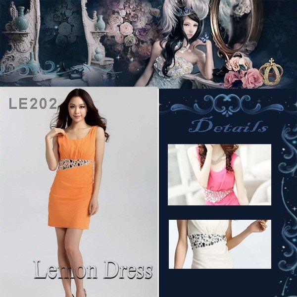 Free shipping Sleeveless White  Black Orange Beading Mini Length Cocktail Party Dress  LE202