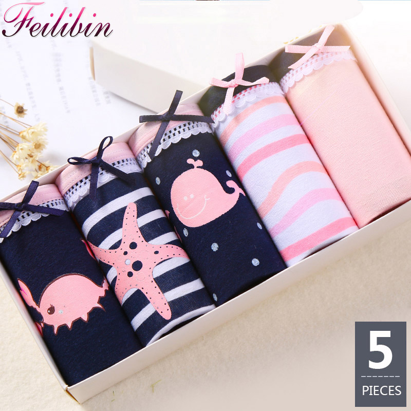 Feilibin 5Pcs/lot   Panties   Women Underwear Cotton Comfort Seamless Girls Lovely Print Briefs Breathable Women Lingerie Underwear