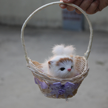 Imitated Mini Simulation Cats Cheap Toys Pet Handmade Animals With Flower Basket For Sale