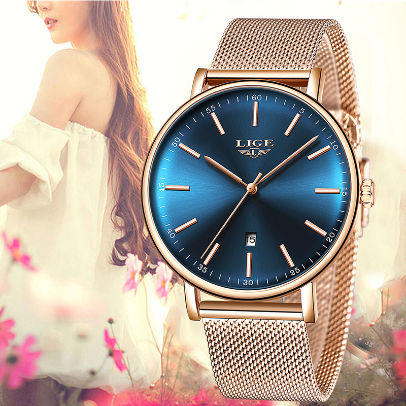 2019 Modern Fashion Blue Clock Quartz Watch Women Mesh Stainless Steel Watchband High Quality Casual Wristwatch Gift For Female