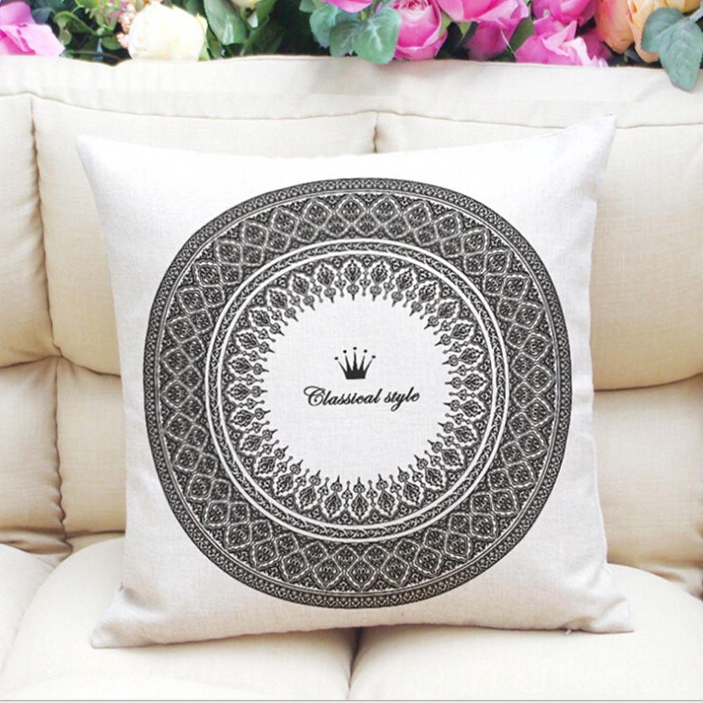 High Quality Geometric Flower Cushion Cover Mandala Pattern Thin Linen Cotton Ramadan Pillow Case Candy Color Baby Decoration