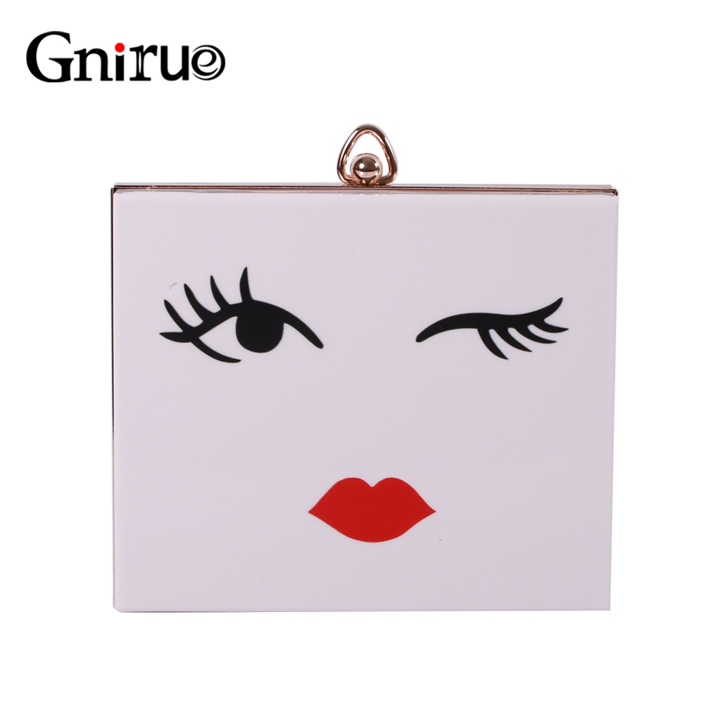 Fashion Eyebrow Expression Printing Acrylic Clutch Evening Bags Mini