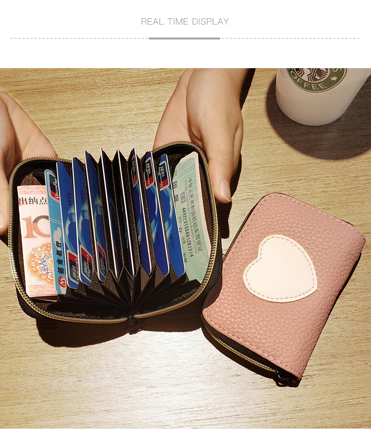 Cute Love Girl Women Card Bags 2018 New Arrive Zipper Credit ID Cards Holder Case Extendable Small Wallet Coin Purse