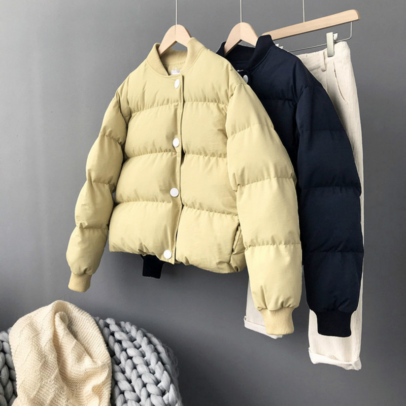 2018 winter women's coats new color crash big button goose yellow feather cotton thickened bread cotton jackets female