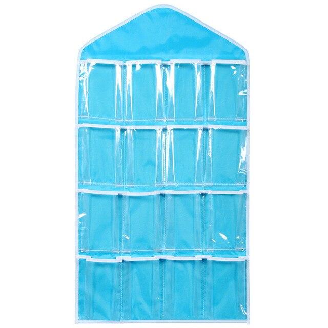 16 giá rẻ Túi Polyester Trong Suốt Treo Túi Áo Ngực Vớ Đồ Lót Móc Áo Lưu Trữ Quần Áo Tổ Chức Lưu Trữ Trang Trí Nội Thất