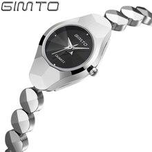 2016 GIMTO бренд Люкс-Бизнес-леди часы мода серебряный кварцевые часы стали вольфрама водонепроницаемый женщина смотреть relogio feminino