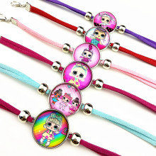 Jiangzimei 24pcs Cartoon  Girl glass Bracelets bangle for Kids Charm bracelet Earrings necklace ring keyring party gift
